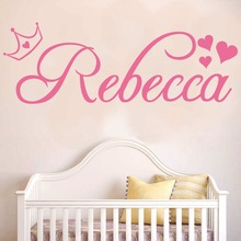 Crown Vinyl Wall Stickers Heart Home Decor Mural Wallpaper Custom Name Made Name Art Kids Room Butterfly Decals C335