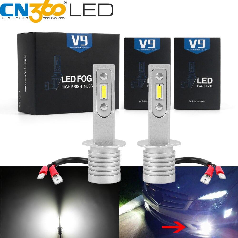 CN360 2PCS H1 H3 H7 LED Car Fog Light Bulbs DRL Auto Fog  Lamp CSP Chips 13W 12V 6500K White 3000LM Super Bright Car Accessories
