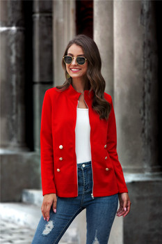 Women 2020 Fall Casual Clothes Fashion Solid-Color Stand-Collar Long-Sleeves Jacket with Zipper Opening Clothes for Ladies burgundy stand collar long sleeves top with button details