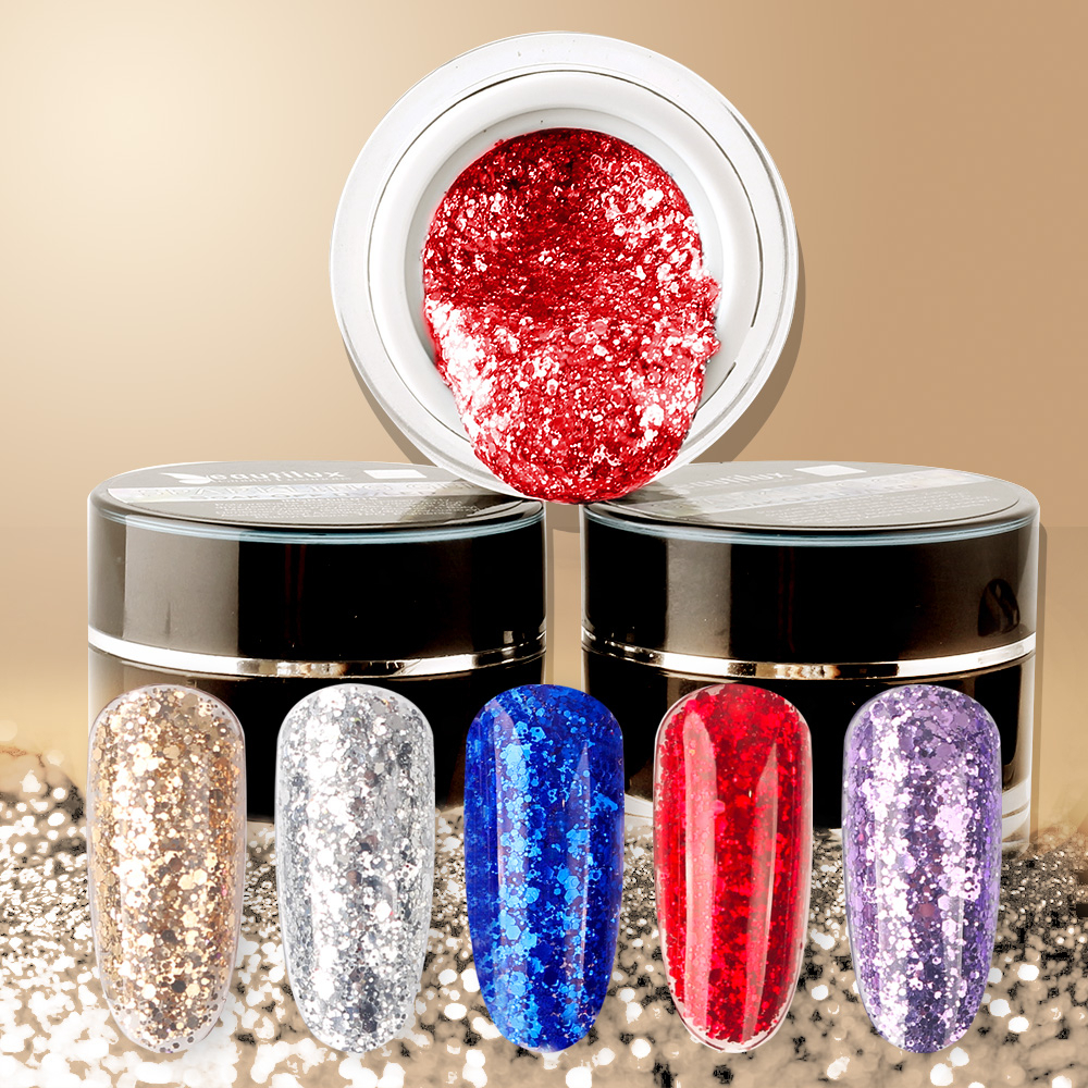 Beautilux Sparkling Glitter Gel Nail Polish Shinny Glossy Stary Bling Winter Silver Gold Sequins Shimmer Nails Art Lacquer 10g