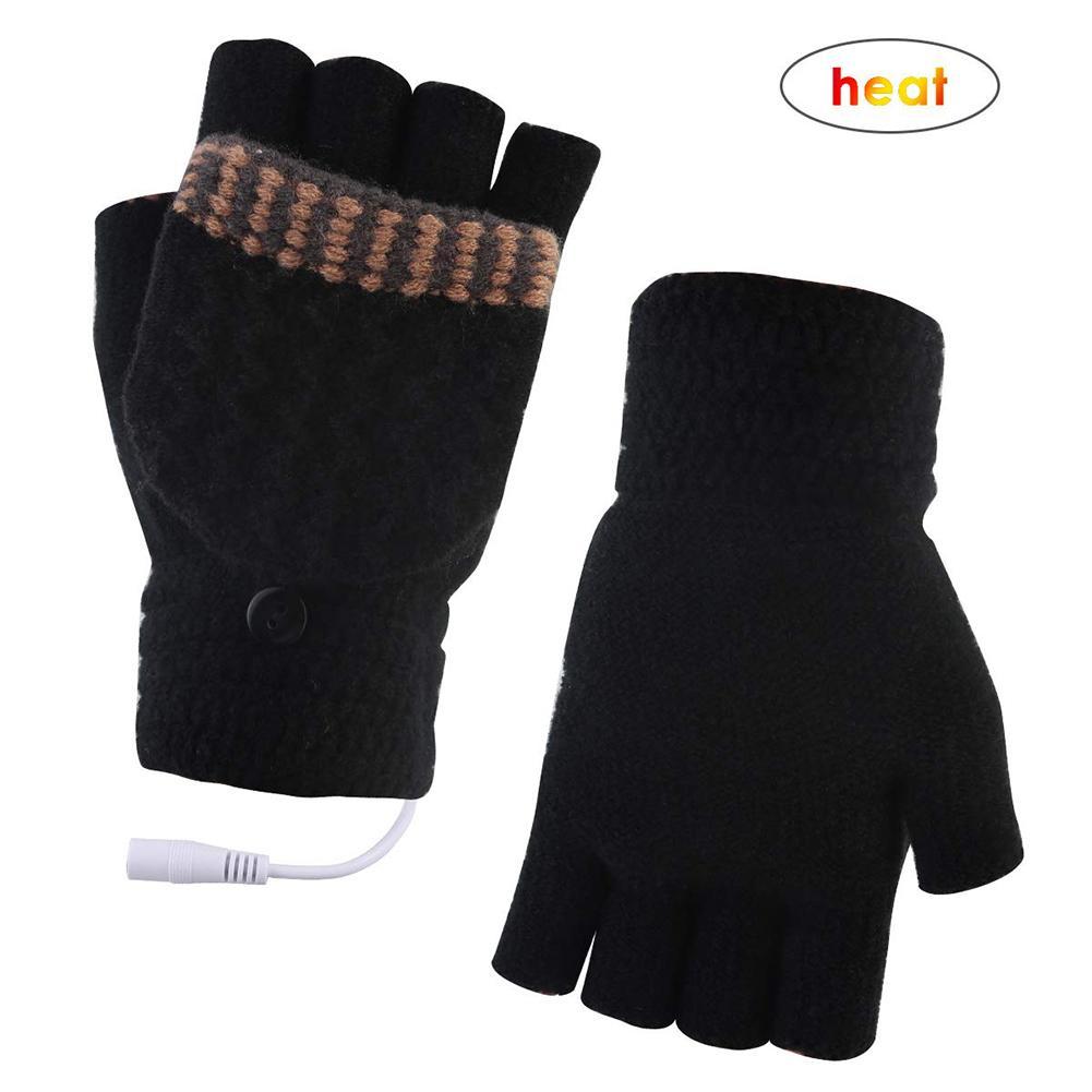 Перчатки с электроподогревом и USB, зимние теплые перчатки с закрытыми пальцами и закрытыми пальцами, перезаряжаемые перчатки для улицы, вел...
