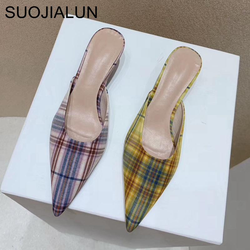 SUOJIALUN Women Slippers Fashion Fluorescent Check Cloth Shoes Pointed Toe Low Heel Luxury Brand Mules Slides Outsides Sandal