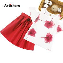 Kids Clothes Floral Print Tshirt + Shorts Pants 2 Pcs Clothes Girls Off Shoulder Clothes For Girls Casual Girls Summer Clothes cheap Artishare Sets Pullover O-Neck 84359 REGULAR Children COTTON Polyester Fits true to size take your normal size