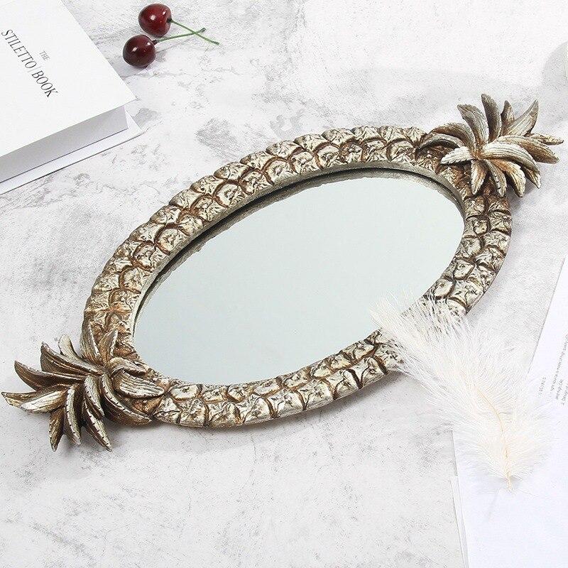 Plateau miroir en résine créative   Plaque de bijoux Design ananas rétro résine décoration fruits bijoux cosmétiques rangement plateau de finition, plateau de miroir