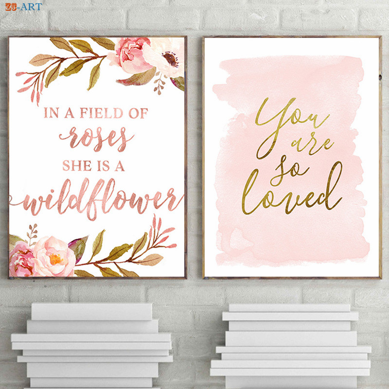 Strong Person Quote Print Poster Rose Gold Wall Art