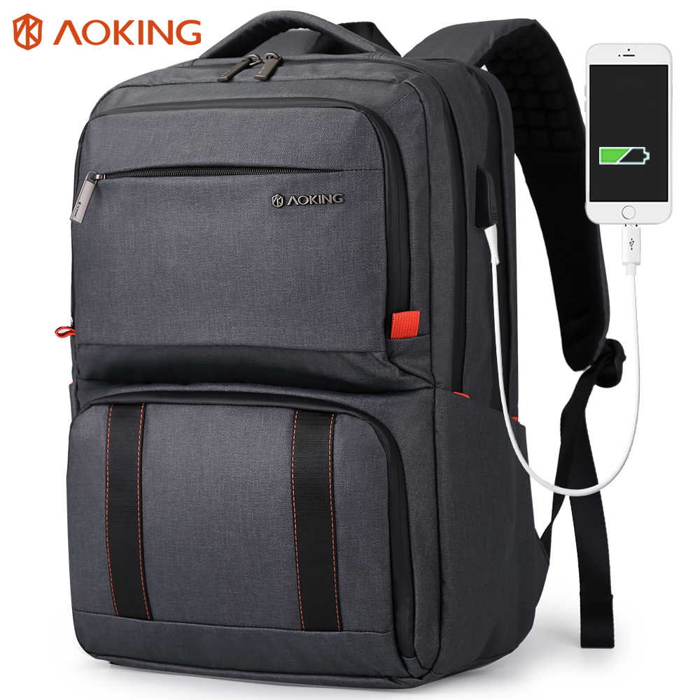 Aoking Waterproof USB Charging Travel Backpack Anti-theft Laptop Backpack with Lunch Box Outdoor Rucksacks for Men Women