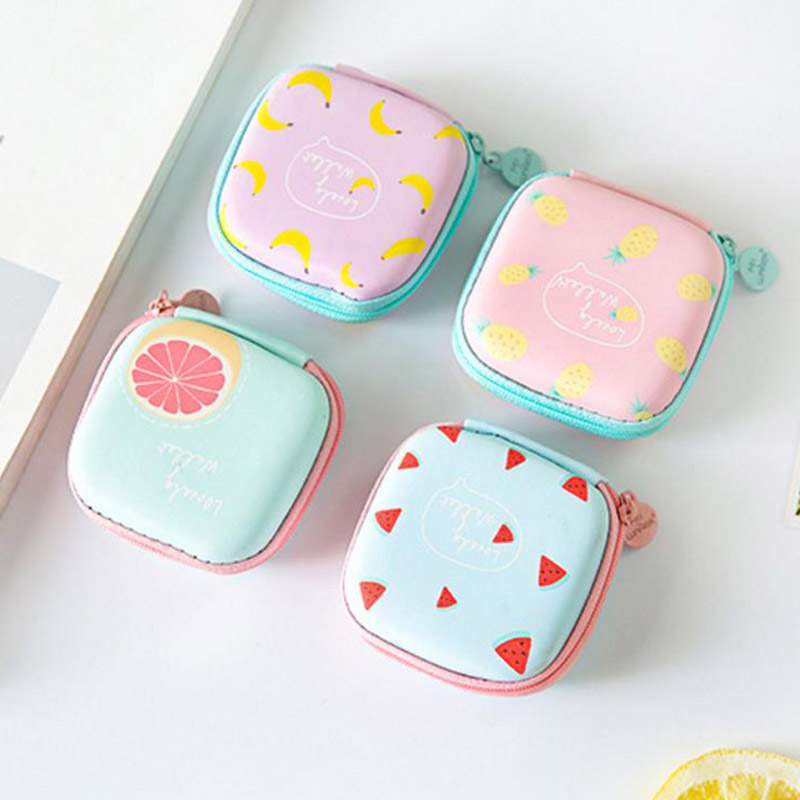 Earphone Coin-Purse Hard-Case Fruit Mini Square Small Girls Cute Priented Women Cartoon title=