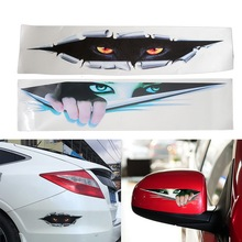 Lifelike 3D Car Sticker Creative Modified Stickers Eyes Peeking Voyeur Monster Waterproof Auto Vinyl Sticker Rear Window Decal spider web hood rear window auto car vinyl decal stickers