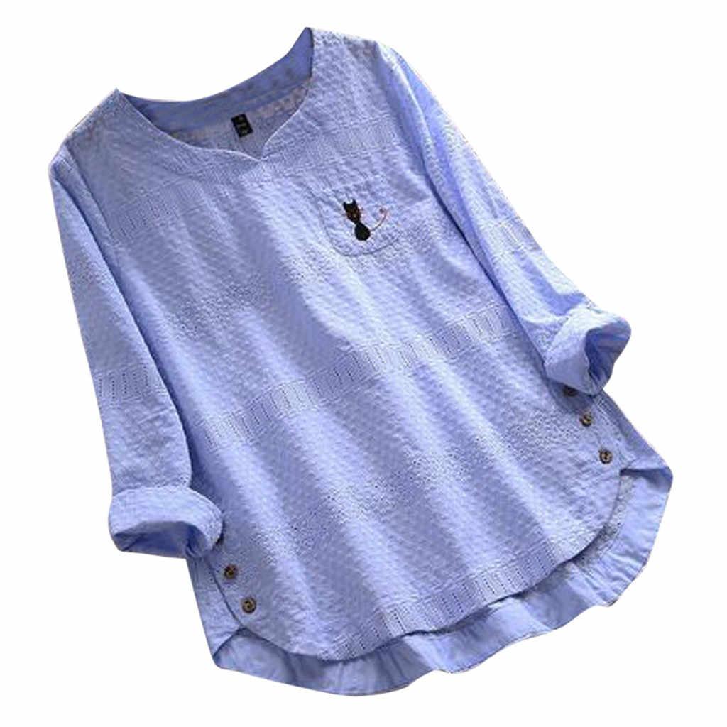 ブラウス女性長袖白人女性ヴィンテージ猫プリントボタン V ネック長袖プラスサイズのシャツトップブラウス