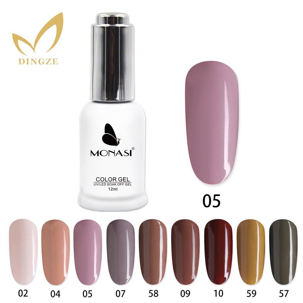 MONASI Nude Series 12ml Gel Polish Nails Design Vernis Semi Permanent Varnish Soak Off Nail Gel Base Top Coat Gel Nail Polish