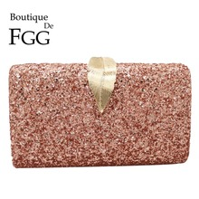 Boutique De FGG Pink Glitter Donne Pochette Borse Da Sera Leaf Chiusura di Modo Delle Signore Catena Della Spalla Crossbody Borse e Portamonete