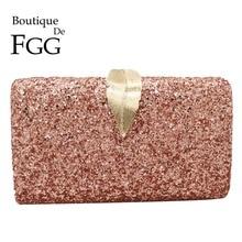 Boutique De FGG Pink Glitter Women Clutches Evening Bags Leaf Clasp Ladies Fashion Chain Shoulder Crossbody Handbags and Purses