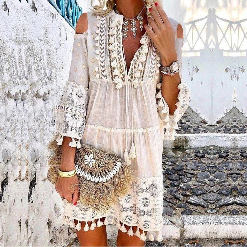 Summer Tassel Boho Dress Women V Neck Seven Sleeve Loose Short Dresses Femme Holiday Bohemian Chic Dress Plus Size Rode