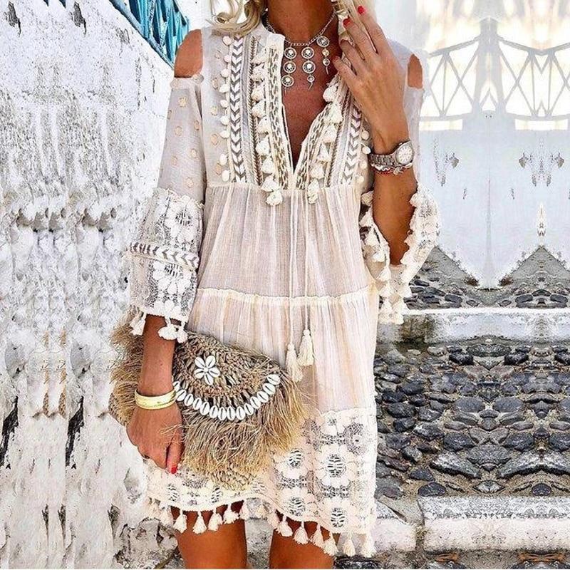Summer Tassel Boho Dress Women V Neck Seven Sleeve Loose Short Dresses Femme Holiday Bohemian Chic Dress Plus Size Rode