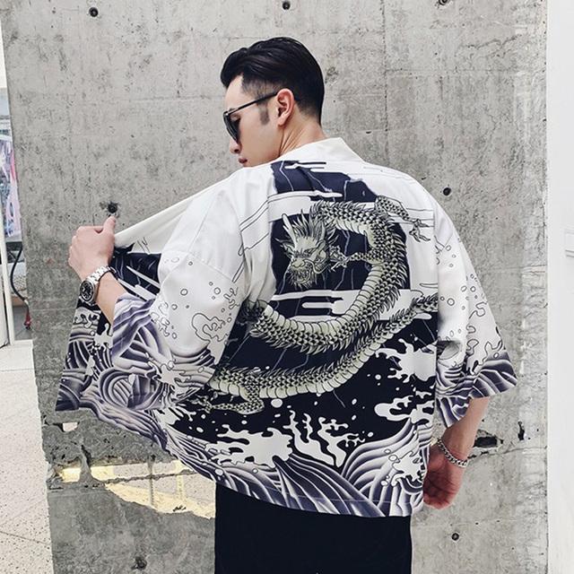 Japanese Style Kimono Jacket Sea Wave Dragon Print 2019 Men Harajuku Streetwear Jacket Coat Casual Thin Gown Sweat Wear Japan