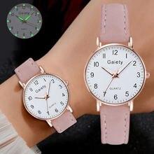 Модные светящиеся часы для женщин повседневные Простые кожаные