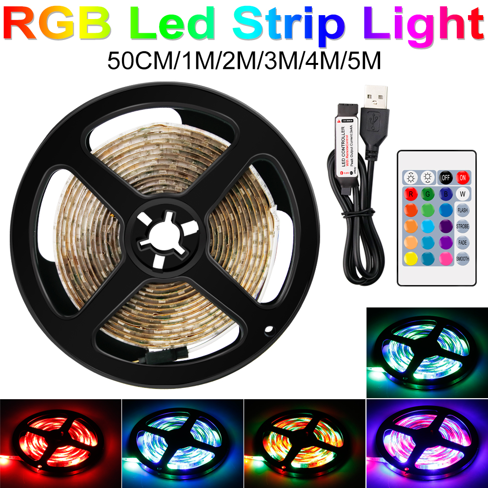 RGB IP65 Waterproof LED Strip USB TV Light Tape Ribbon LED Ambilight Decoration Light LED Flexible Strip Lamp DC 5V Cabinet Lamp