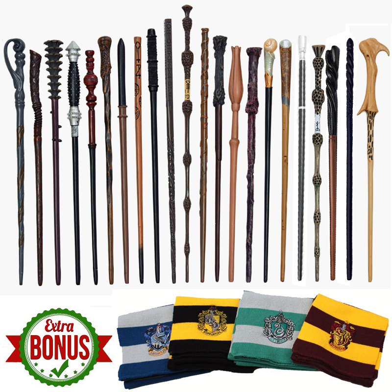 28 Kind Metal Core Potter Magic Wand Hermione Ron Snape Dumbledore Voldmort Malfoy Magic Wand No Box 1Pcs Harried Scarf As Gift