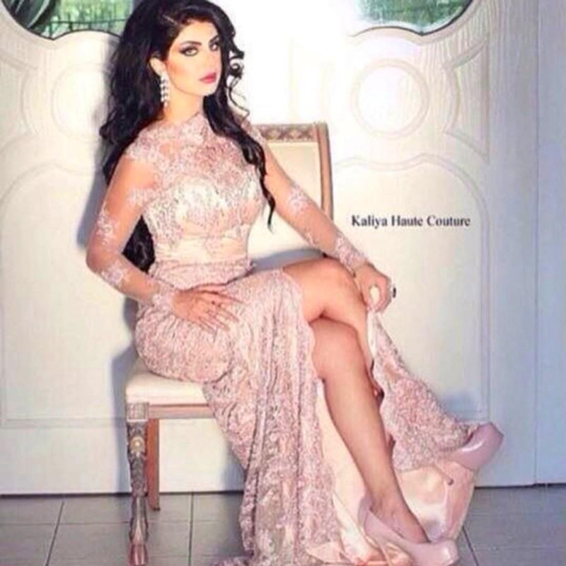 Hot Sale Lace Long Sleeves Arabic Evening Dresses 2015 Sexy Mermaid High Neck Long Sleeve Side Slit Dubai Arabic Prom Dresses