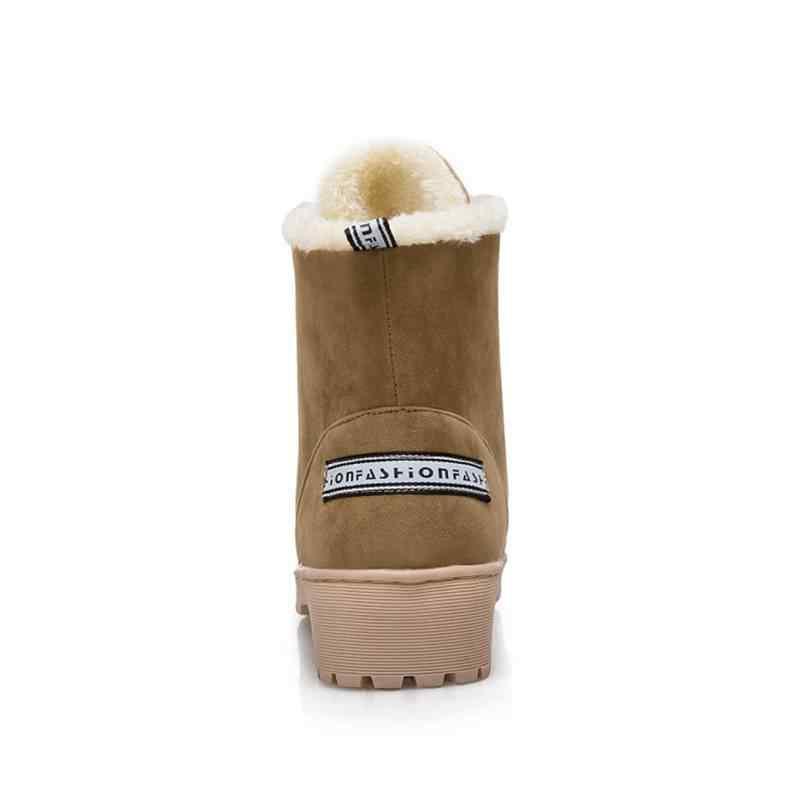 REAVE KEDI Kadın Ayak Bileği Kar Botları Casual Lace Up Kış Yuvarlak Ayak Kare Kalın Topuk Kürk Kadın Mektuplar Peluş Sıcak daireler Boots