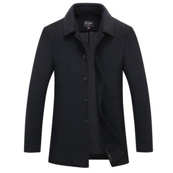 Autumn & Winter Single Breasted Woolen Coats 50% Off Men' s Wool Jackets Turn-down Collar Wool & Blends Overcoat