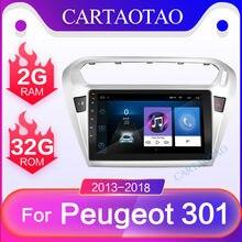 Ram 2g + rom 32g android 8.1 player de vídeo multimídia do carro navegação gps para peugeot 301 citroen elysee rádio 2013-2018 2 din gps