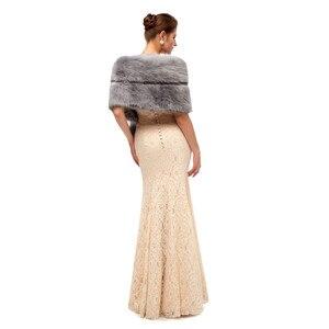Image 5 - Gray Wedding Fur Shawl Wedding Dress Wrap Adults Formal Jackets Luxury Bridal Cape Accesories Bride Women Fur Bolero 2020