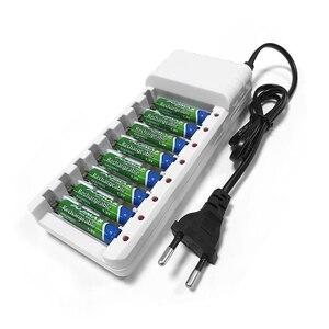 Image 2 - Pujimax Universele Batterij Oplader 8 Slots Batterijen Charger Aa/Aaa Ni Mh/Ni Cd Batterijen Oplaadbare Batterij Eu plug