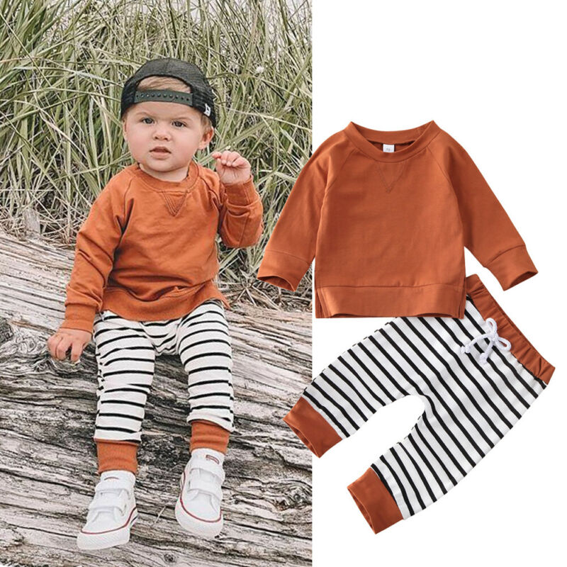 0-24 Months Toddler Kids Baby Boy Outfit Brown Pullover T-Shirt Tops Striped Long Pants Baby Boys Clothes Set Kids Active Outfit