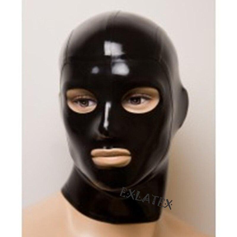 Capa de látex adulto fetiche máscara látex borracha anatômica máscara sem costura sm asfixia máscara 0.6mm gummi deadpool