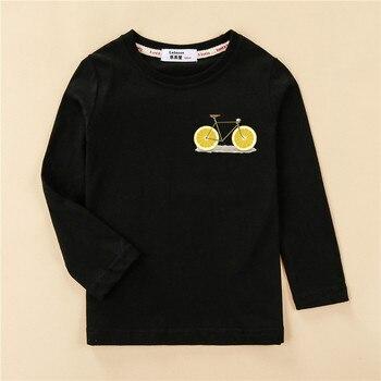 Funny Lemon Bike Kids Tees Long Sleeve Autumn Clothing Boy Cotton T-shirt Fashion Home Tops Girl Fruit Design Print Shirt 1