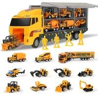 Große Bau Lkw Set 1:64 skala Spielzeug Mini Diecast Legierung Auto Modell Engineering Spielzeug Fahrzeuge Träger Lkw Geschenke Jungen Spielzeug
