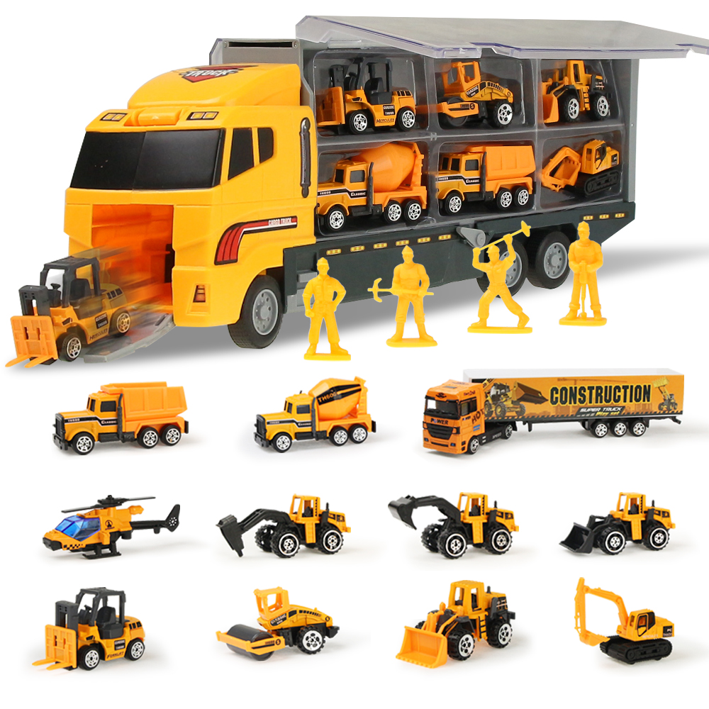 Coolplay 12pcs/set Mini Diecast Alloy Car 2in1 Model Engineering Toy Vehicles Carrier Truck With Ejection & Carry Function Gifts
