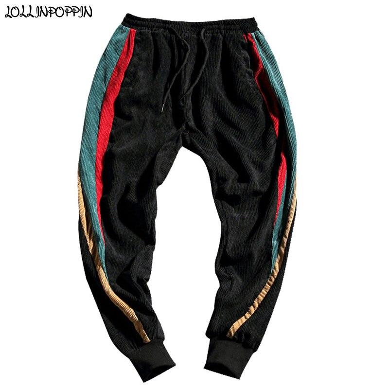 Men Corduroy Jogger Pants Side Three-Colour Stripes Elastic Waist Casual Pants Hip Hop Streetwear Mens Joggers Plus Size