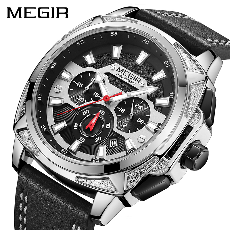 <font><b>2020</b></font> New <font><b>MEGIR</b></font> Men's Leather Strap Army Sports Watches Waterproof Chronograph Quartz Wristwatch Man Relogios Masculino Clock image