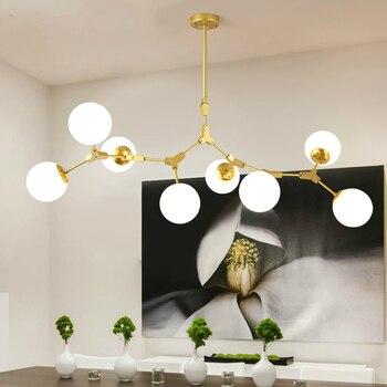 Modern Gold Hanging Lights LED Chandelier Living Room Suspended Lamps Nordic Bedroom Decor Fixtures Iron Art Lighting Restaurant