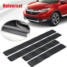 4PCS Car Carbon Fiber Sticker Door Sill Scuff Anti Scratch Auto Door Protector Film Auto Stickers Accessories Universal(China)