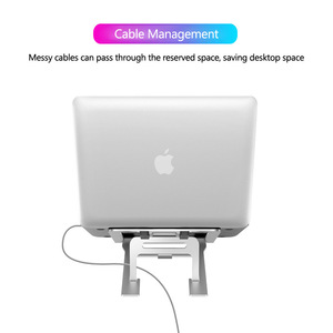 Image 4 - 5 Gear Adjustable Aluminum Foldable Laptop Stand Desktop Notebook Holder Desk Laptop Stand For 7 15 inch Macbook Pro Air