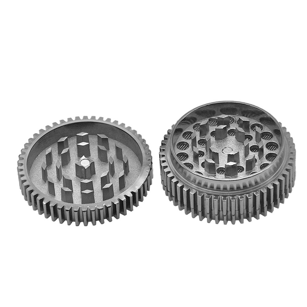New Gear Style Zinc Alloy Smoking Grinder 56MM 3 Piece Metal Tobacco Herb Grinder Smoke Crusher Pipes Accessoires 3