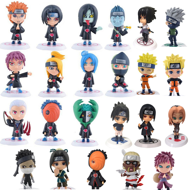 Naruto Action Figure Toys 23 Styles Q Style Zabuza Haku Kakashi Sasuke Naruto Sakura PVC Model Doll Collection Kids Toy 1PCS/lot