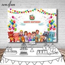 Sensfun fotografia backdrops cocomelon bunting balões crianças festa de aniversário fundos para estúdio foto personalizado