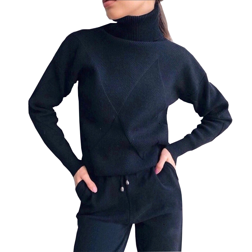 TAOVK Autumn Knitted Tracksuit Turtleneck Sweater Casual Suits Women Knit Pullovers And Long Pant 2 Piece Set Female