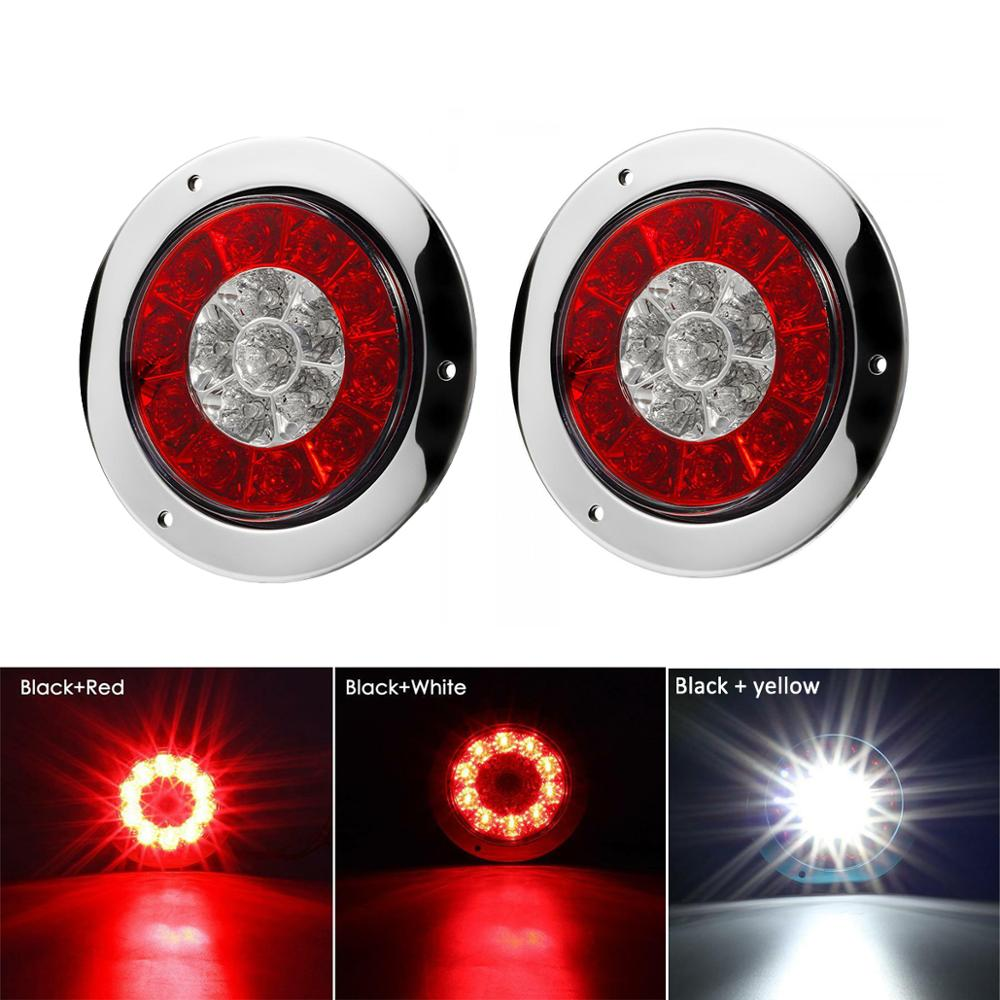 2Pcs 12/24V 16 LED Car Trailer Truck Round Tail Brake Waterproof Lights Turn Signal Stop Light Side Lamp Tail Lights