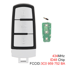 434MHz 3 Buttons Keyless Uncut Flip Smart Car Remote Key Fob with ID48 Chip 3C0959752BA for VW Passat B6 3C B7 Magotan CC