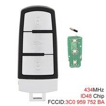 Chave de carro inteligente sem cortar, chave remota de carro com 3 botões de 434mhz, sem cortes, com chip id48 › para vw passat b6 3c b7 magotan cc