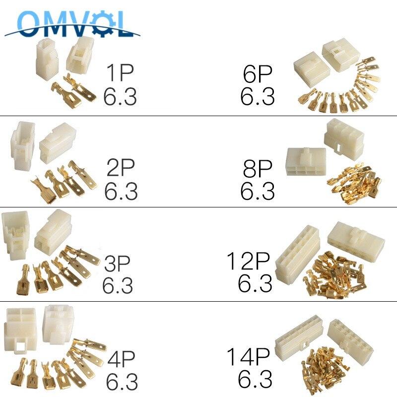 5Sets 6.3mm 1P 2P 3P 4P 6P 8P 12P 14P Pin/way Crimp Terminal Connector Kits Male Female Socket Plug For Motorcycle Car