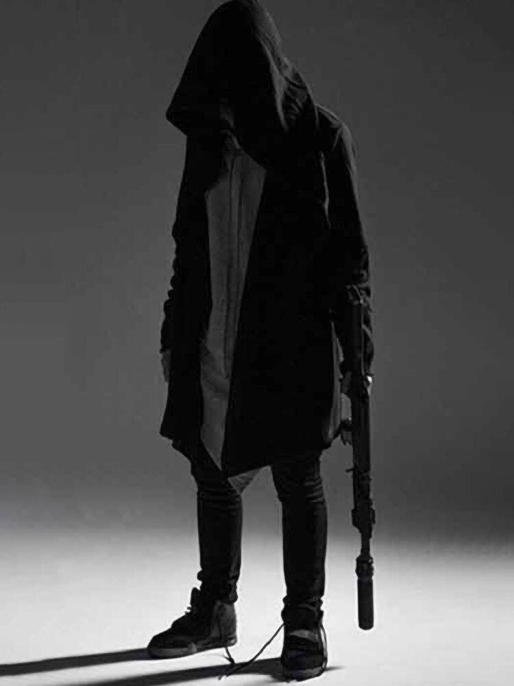 Hip Hop Hoodie Men Black Gothic Streetwear Alan Walker Cardigan Sweatshirt