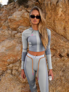 Kliou Tracksuit Sportswear Outfit Leggings Crop-Top Letters-Print Two-Pieces-Set Skinny