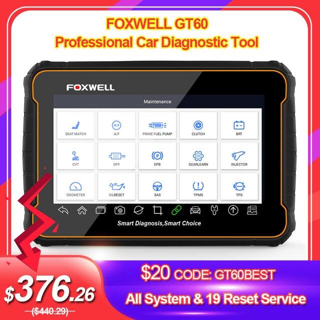 Foxwell GT60 OBD2 Профессиональный автомобильный диагностический инструмент полная система на ABS SRS DPF EPB 19 сброс сервиса ODB2 OBD2 автомобильный сканер