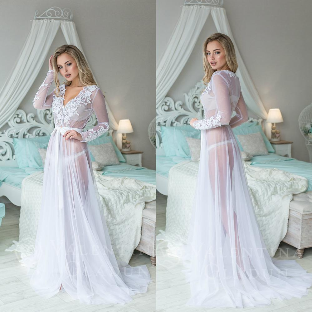 White Lace V Neck See Through Women Night Robes Custom Made Long Sleeves Lace Chiffon Nightgowns Robes Women Sleepwear